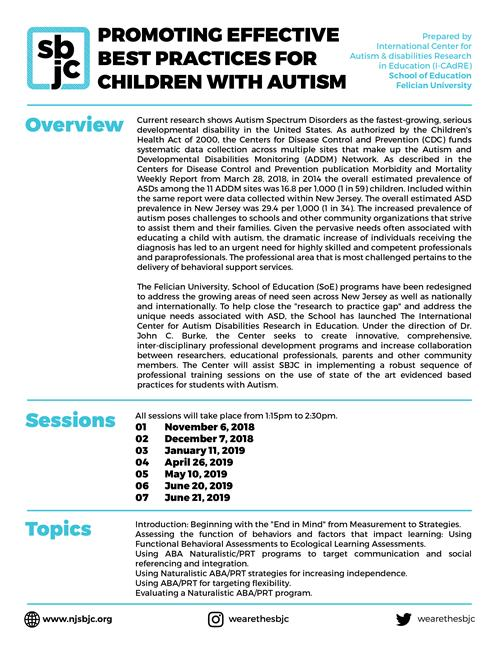 Promoting Effective Best Practices for Children with Autism flier